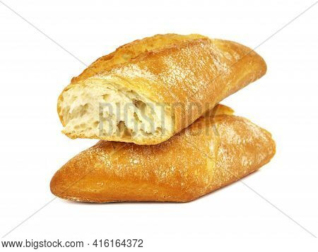 Fresh Baguette Bread Isolated On White Background