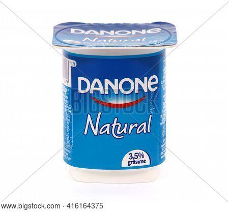 Bucharest, Romania - March 25, 2018. Danone Natural Yogurt Isolated On White