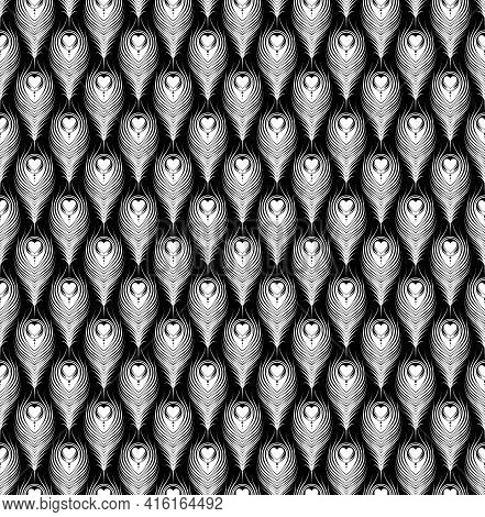 Peacock Feather Pattern Vector Design, Feather Pattern With Heart, Black And White Color