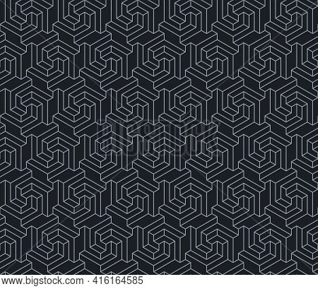 Vector Design Of Geometric Pattern With Three-dimensional Shape, 3d Hexagon Lines Texture For Backgr