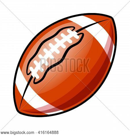 American Football Super Bowl Ball Vector Illustration Isolated On White Background. Ideal For Logo D