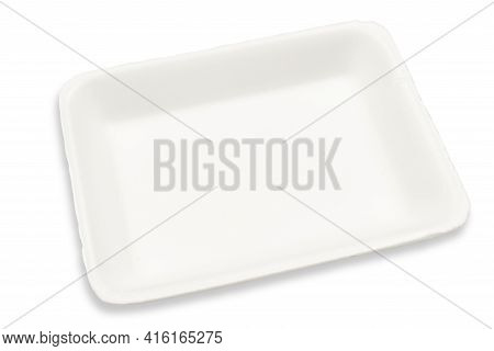 Empty Styrofoam Tray For Packing Food At The Market