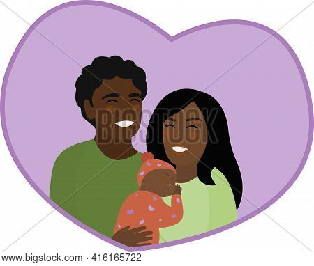 Happy Family Day. African American Parents And Little Baby. Joyful Parenthood. Woman Is Holding Slee