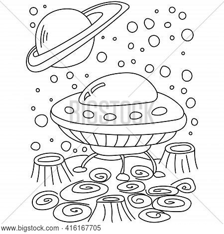 Ufo Coloring Book Page, Spaceship On The Surface With Craters And Fantasy Patterns Vector Illustrati