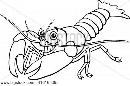 Black And White Cartoon Illustration Of Funny Yabby Crayfish Animal Character Coloring Book Page