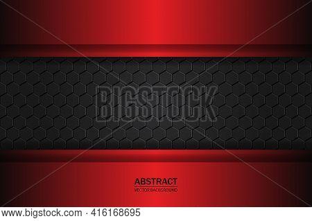 Metallic Hexagonal Black Carbon Grid. Carbon Fiber Black Hexagon Texture. Red And Black Plates On Ca