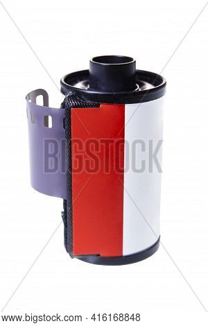 Metal Can For 35mm 35mm Photographic Film. New Photographic Film For Analog Cameras. Isolated Backgr