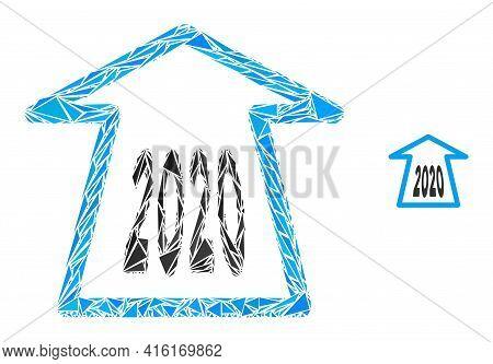 Triangle Mosaic 2020 Ahead Arrow Icon. 2020 Ahead Arrow Vector Mosaic Icon Of Triangle Items Which H