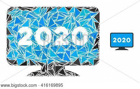 Triangle Mosaic 2020 Display Screen Icon. 2020 Display Screen Vector Mosaic Icon Of Triangle Element