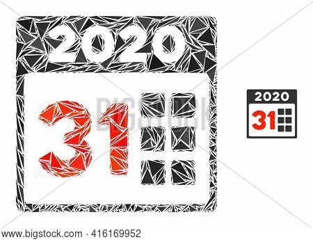 Triangle Mosaic 2020 Last Day Icon. 2020 Last Day Vector Mosaic Icon Of Triangle Elements Which Have