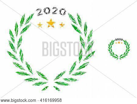 Triangle Mosaic 2020 Laurel Wreath Icon. 2020 Laurel Wreath Vector Mosaic Icon Of Triangle Elements
