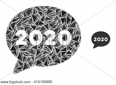 Triangle Mosaic 2020 Message Cloud Icon. 2020 Message Cloud Vector Mosaic Icon Of Triangle Items Whi