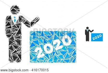 Triangle Mosaic 2020 Showing Man Icon. 2020 Showing Man Vector Mosaic Icon Of Triangle Items Which H