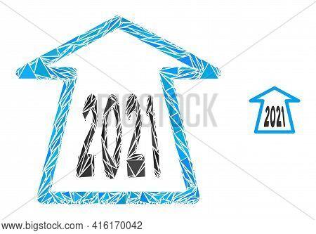 Triangle Mosaic 2021 Ahead Arrow Icon. 2021 Ahead Arrow Vector Mosaic Icon Of Triangle Items Which H