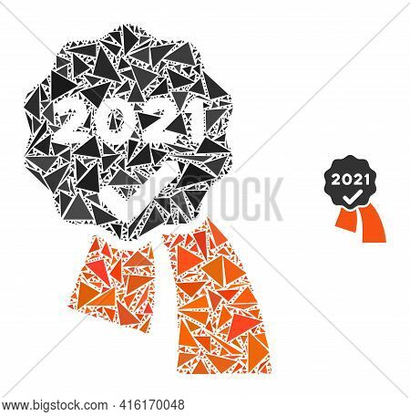Triangle Mosaic 2021 Approve Award Icon. 2021 Approve Award Vector Mosaic Icon Of Triangle Items Whi