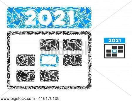 Triangle Mosaic 2021 Calendar Day Icon. 2021 Calendar Day Vector Mosaic Icon Of Triangle Elements Wh