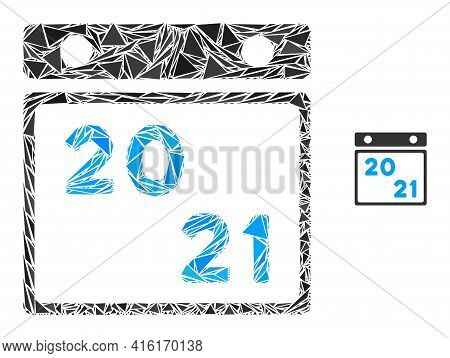Triangle Mosaic 2021 Calendar Icon. 2021 Calendar Vector Mosaic Icon Of Triangle Elements Which Have