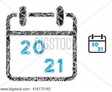 Triangle Mosaic 2021 Calendar Icon. 2021 Calendar Vector Mosaic Icon Of Triangle Items Which Have Di