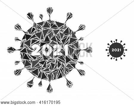 Triangle Mosaic 2021 Coronavirus Icon. 2021 Coronavirus Vector Mosaic Icon Of Triangle Elements Whic