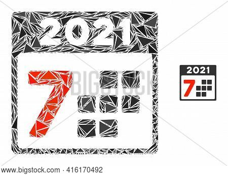 Triangle Mosaic 2021 Year 7 Days Icon. 2021 Year 7 Days Vector Mosaic Icon Of Triangle Items Which H