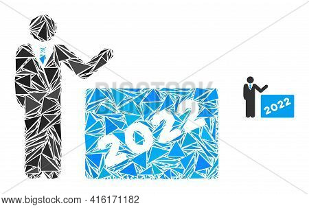 Triangle Mosaic 2022 Showing Man Icon. 2022 Showing Man Vector Mosaic Icon Of Triangle Items Which H