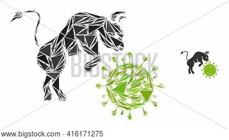 Triangle Mosaic Bull Attacks Coronavirus Icon. Bull Attacks Coronavirus Vector Mosaic Icon Of Triang