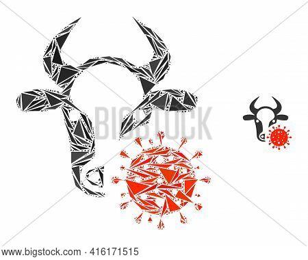 Triangle Mosaic Cow Coronavirus Icon. Cow Coronavirus Vector Mosaic Icon Of Triangle Elements Which