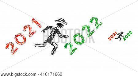 Triangle Mosaic Gentleman Run To 2022 Icon. Gentleman Run To 2022 Vector Mosaic Icon Of Triangle Ele