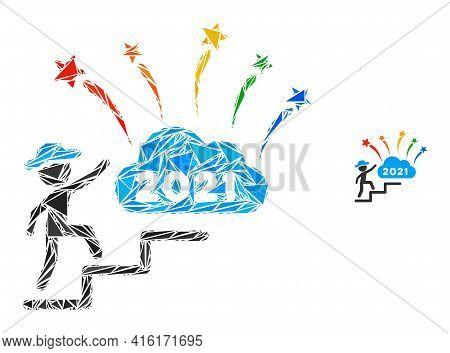 Triangle Mosaic Gentleman Steps To 2021 Fireworks Icon. Gentleman Steps To 2021 Fireworks Vector Mos