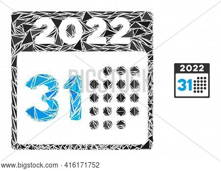 Triangle Mosaic Last 2022 Day Icon. Last 2022 Day Vector Mosaic Icon Of Triangle Items Which Have Di