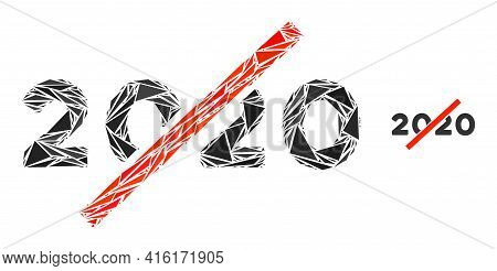 Triangle Mosaic No 2020 Year Icon. No 2020 Year Vector Mosaic Icon Of Triangle Items Which Have Vari
