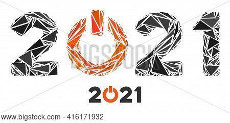 Triangle Mosaic Start 2021 Caption Icon. Start 2021 Caption Vector Mosaic Icon Of Triangle Items Whi