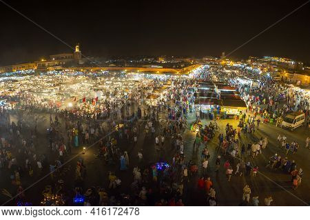 Marrakesh, Morocco, August 19: Jamaa El Fna At Night, A Square And Market Place In Marrakesh Medina