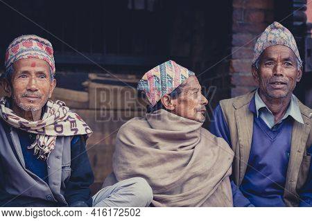 Bhaktapur, Nepal, April 23: Group Of Nepalese Seniors With Traditional Clothes In The Old City Of Bh