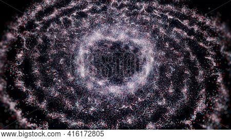 Abstract Visualization Of A Universe Genesis In Outer Space. Animation. Colorful Explosion Of Tiny P