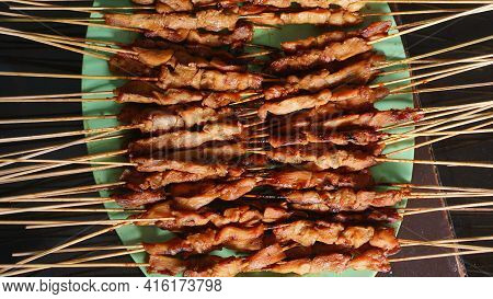 Lots Of Chicken Satay On The Plate. Indonesian Special Food