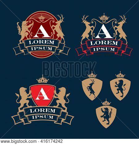 Crest, Coat Of Arms, Heraldry Theme Logo Set