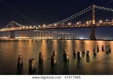 San Francisco Bay Bridge At Night Panorama