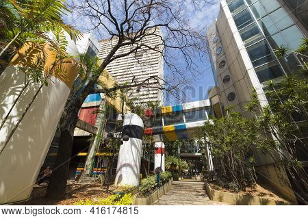Caracas, Venezuela, April 20: Pedestrian Area Of Caracas, In Between Modern And Colored Residential