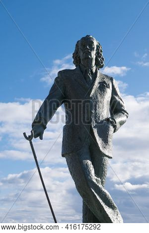 Cadaques, Spain - November 6: Detail Of A Bronze Life-size Statue To Famous Salvador Dali In Cadaque