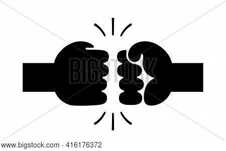 Two Hands In Fist Bumping. Black And White Vector Illustration