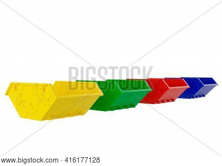 Empty Industrial Metal Waste Bin Colored Dumpster Isolated On White Background. 3d Illustration