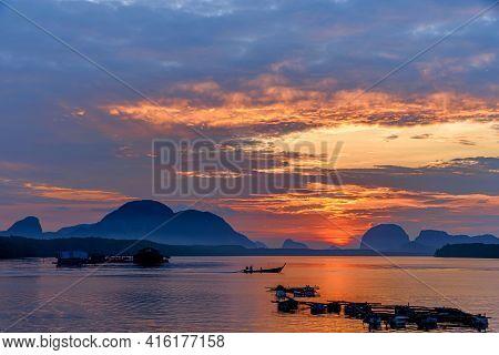 Beautiful Landscape In The Morning During Sunrise At Fisherman Sam Chong Tai Village , Phang Nga Pro