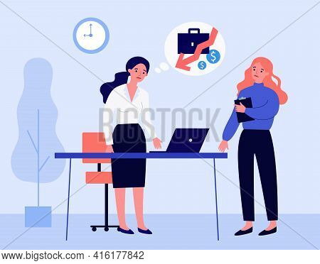 Businesswoman Thinking Of Money Loss At Work. Office People Worried About Finances Flat Vector Illus