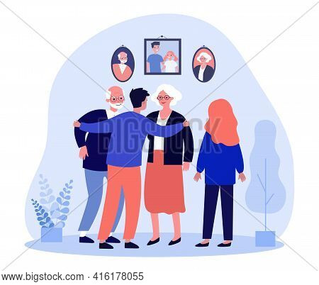 Siblings Talking To Parents In Front Of Family Portraits. Man Hugging Parents, Happy Family Flat Vec