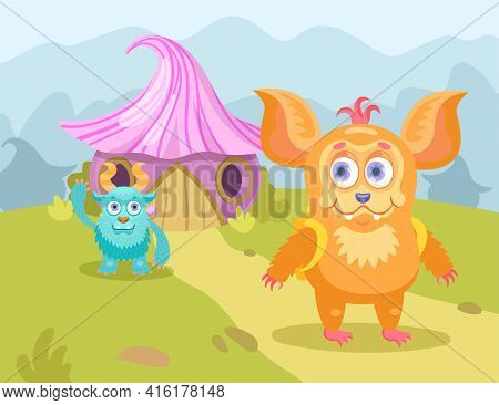 Cartoon Little Monsters In Village Flat Vector Illustration. Cute Colorful Furry Creatures Character
