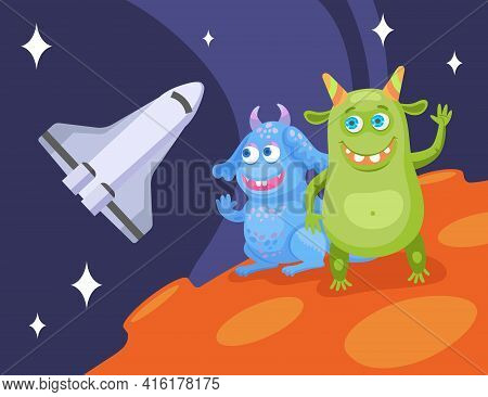 Cartoon Funny Monsters In Space Flat Vector Illustration. Cute Colorful Creatures Characters Watchin