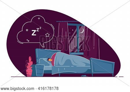 Man Sleeping In Bed And Dreaming. Male Under Duvet Seeing Dreams In Bedroom, Cloud Above Bed Flat Ve