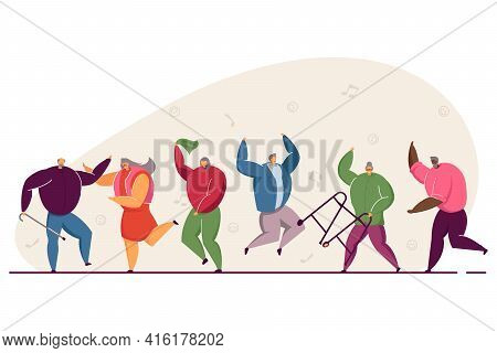 Group Of Happy Old People Jumping And Dancing. Elders Having Fun To Music, Aged Men And Women At Par