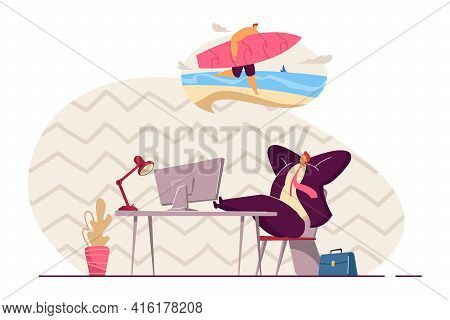 Business Person Relaxing And Thinking Of Vacation. Smiling Man At Work Dreaming Of Holiday On Island